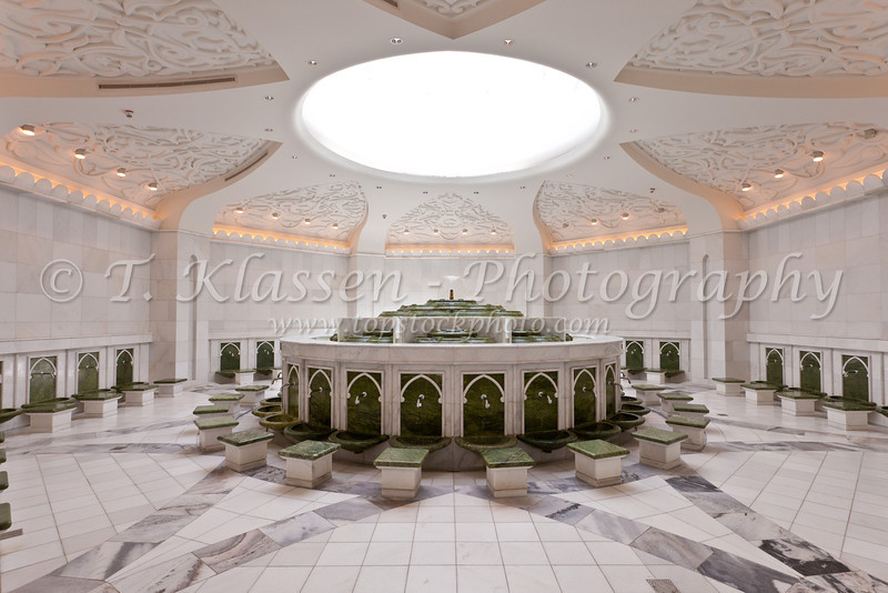 Ablution fountains and baths in the the Sheikh Zayed Grand Mosque in Abu Dhabi, UAE.