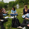 Liza Durant's Environmental Engineering students test water quality. Photo by Evan Cantwell/Creative Services/George Mason University
