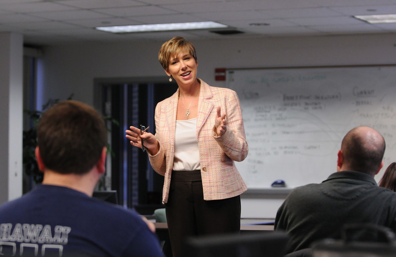 Professor Bannan teaches a lecture in the graduate school of education.  Photo by Creative Services