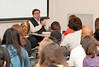 Harold Morowitz, Robinson Professor, speaks to Honors College students.  Photo by Creative Services/George Mason University