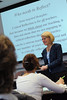 Rebecca Fox, a CEHD professor, speaks during a graduate class at the Center for Language and Culture.  Photo by Creative Services