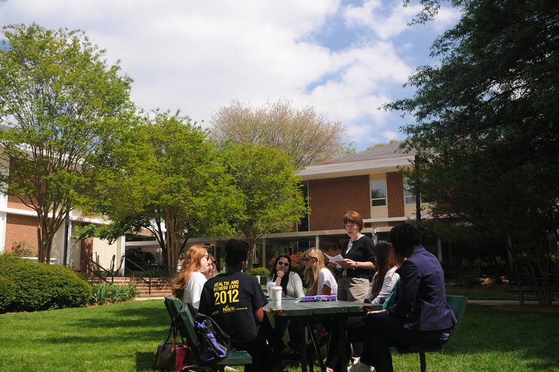 Social Work students in Kathy Prudden's class meet outdoors.  Photo by Creative Services