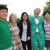"Matt ""the question guy"" Lesko posing with Instructor Zhang and Mason community. Photo by Evan Cantwell/Creative Services/George Mason University"