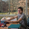 Austin Alderete, LLC Honors College Researcher Portrait. Alderete's research explored the effects of certain chemicals on individuals with multiple sclerosis. Photo by Alexis Glenn/Creative Services/George Mason University