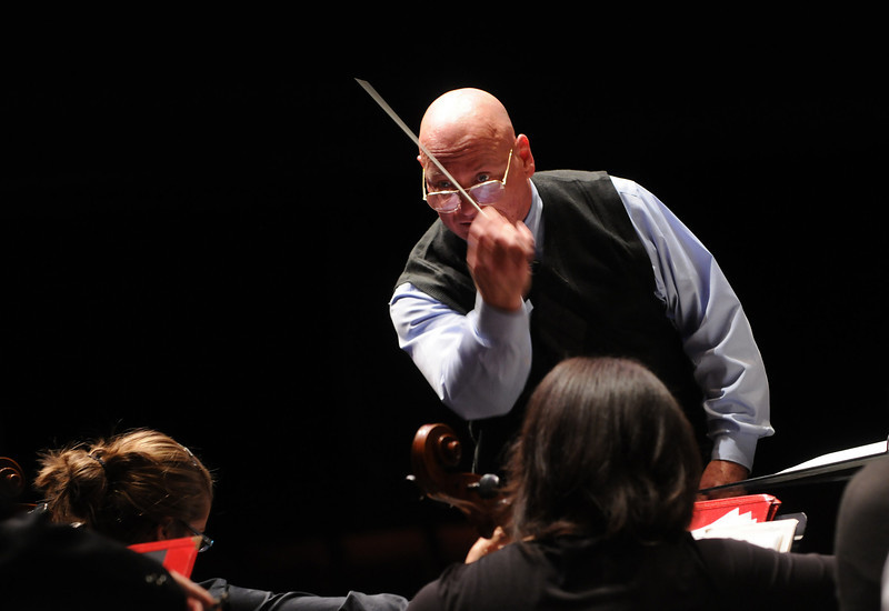 Dennis M. Layendecker conducting George Mason University  Symphony Orchestra. Photo by Evan Cantwell/Creative Services/George Mason University