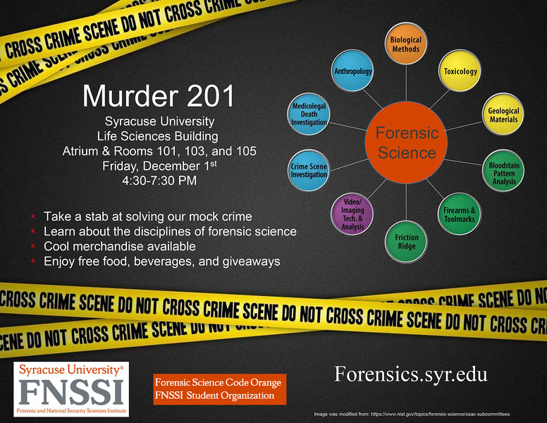 Murder 201 Poster by: Matthew Smith, SU Grad Forensic Science Student