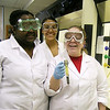 BIO students conducting experiment.
