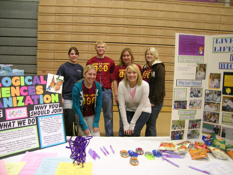 Promoting the Biology Department at the Majors Fair.