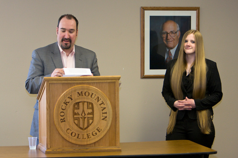 Anthony Piltz, Academic Vice President, introduces Brea Tinnes, a freshman.