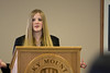 """Brea Tinnes, a freshman, presents on her paper, titled """"Ethical Issues Concerning Stanley Milgram's Obedienc to Authority Study."""""""