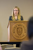 "Karissa Hughes, a junior, presents on her paper titled, ""Body Snatchers: The Unethical Use and Trafficking of Cadvavers and Human Body Parts."""