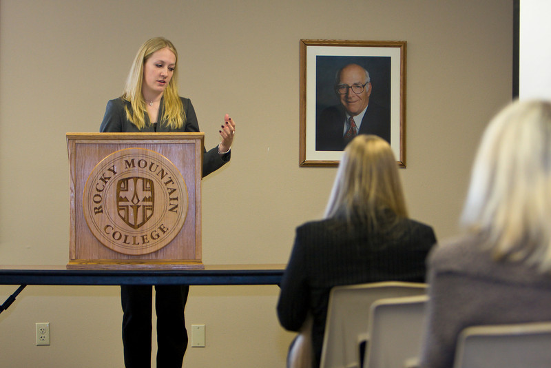 """Karissa Hughes, a junior, presents on her paper titled, """"Body Snatchers: The Unethical Use and Trafficking of Cadvavers and Human Body Parts."""""""