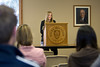 "Brea Tinnes, a freshman, presents on her paper, titled ""Ethical Issues Concerning Stanley Milgram's Obedienc to Authority Study."""