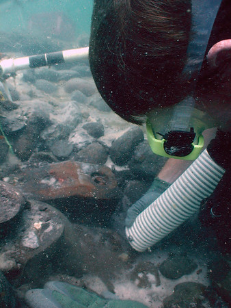 A diver from the University of West Florida recovers artifacts from the Santa Rosa Island Shipwreck