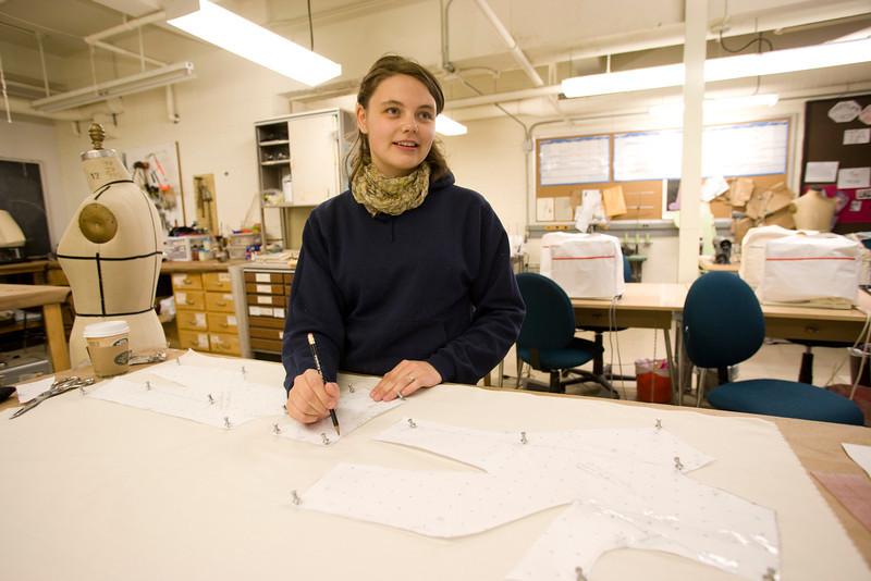 Students work on costume designing. in the classroom.  2008 Photographer: P. Scott Barrow