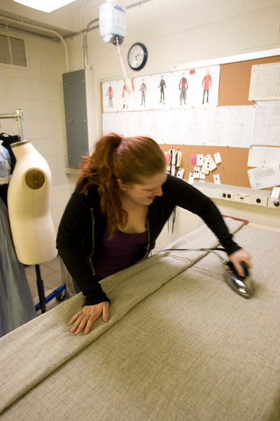 Students work on costume designing. in the classroom.  2008 Photographer: P. Scott Barrow