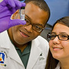Doctoral students Manuel F. Rosario-Alomar and Tatiana Quinones Ruiz from the University of Puerto Rico.  Both students are working in Dr. Igor Lednev's lab as part of the NIH-sponsored Research Initiative for Scientific Enhancement (RISE) Program.Photographer: Paul Miller