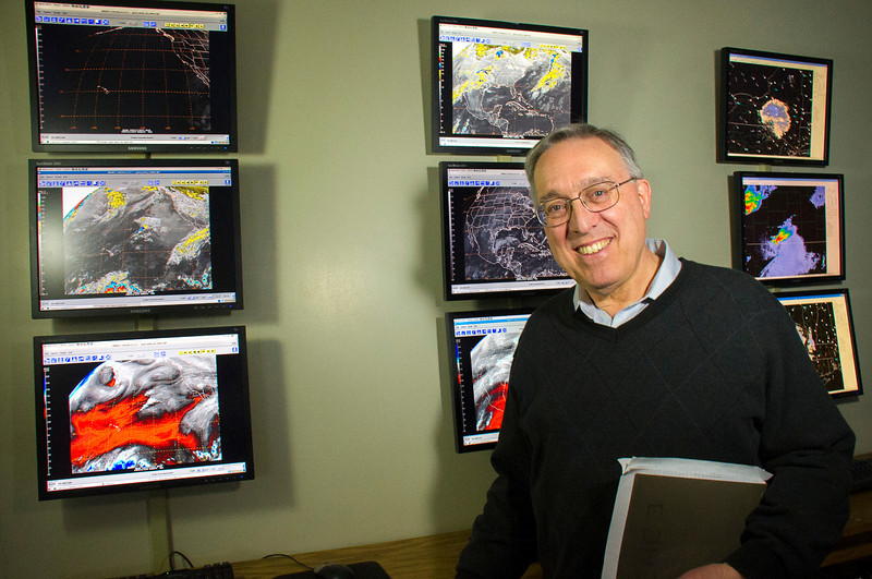 Lance Bosart, one of the world's leading experts in synoptic/dynamic meteorology, the study of large-scale (1000+ kilometers) weather systems. His research areas include winter storms, cyclones, hurricanes, and tornadoes. Photographer: Mark Schmidt