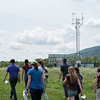 A University at Albany staff tour of Mesonet's weather station at Indian Ladder Farms on July 31, 2018. (photo by Patrick Dodson)