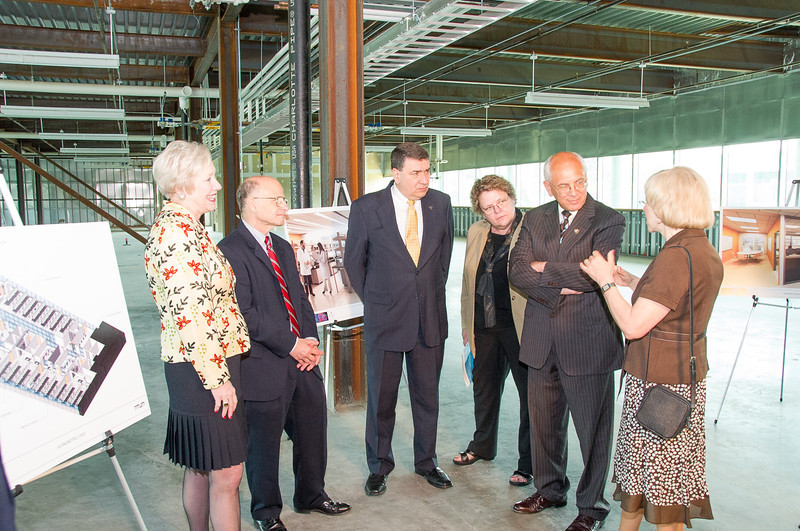 Congressman Paul D. Tonko meets with SUNY Chancellor Nancy Zimpher, The RNA Institute Director Paul Agris, 18th President of UAlbany George M. Philip, Provost Susan Phillips, and College of Arts & Sciences Dean Edelgard Wulfert in the shell space of The RNA Institute in June 2010.<br /> Photographer: Mark Schmidt