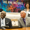 Congressman Paul D. Tonko listens with 19th President Robert J. Jones and Senior Research Scientist Maria Basanta Sanchez at The RNA Institute.<br /> Photographer: Mark Schmidt