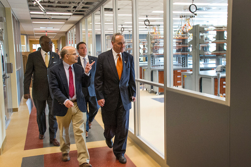 U.S. Senator Charles E. Schumer takes a tour of The RNA Institute with Director Paul Agris and 19th President Robert J. Jones and Albany County Executive Dan P. McCoy.<br /> Photographer: Mark Schimdt