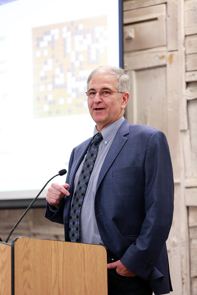 AI Media Entrepreneur Eliot Weinman ('77) speaks during the 7th Annual Bunshaft Lecture at the University at Albany Campus Center Assembly Hall on Monday, November 5, 2018. (photo by Patrick Dodson)