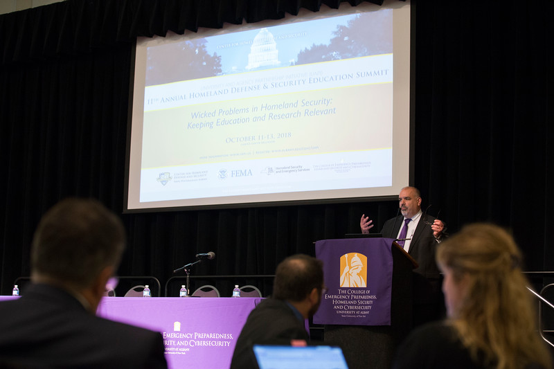 UAlbany's College of Emergency Preparedness, Homeland Security and Cybersecurity (CEHC), in partnership with Center for Homeland Defense and Security's University and Agency Partnership Initiative, the Department of Homeland Security (DHS) and the Federal Emergency Management Agency (FEMA), hosted the 11th annual Homeland Defense/Security Education Summit in the Campus Center Ballroom on October 11, 2018. (photo by Patrick Dodson)
