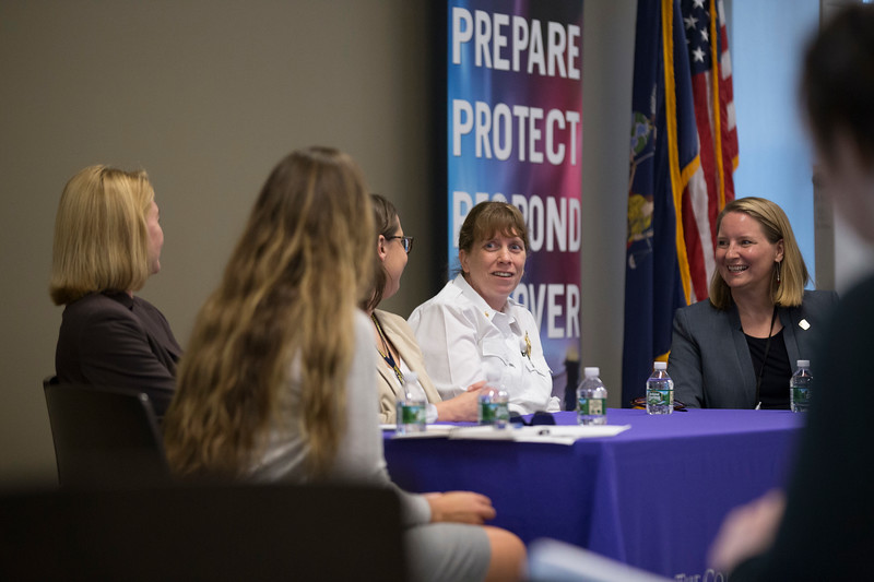 "The College of Emergency Preparedness, Homeland Security and Cybersecurity (CEHC) inaugural ""State of Grace,"" a five-day conference to celebrate women in science, technology, engineering, the arts and mathematics (STEAM), with a Emergency Managers Panel moderated by Samantha Phillips, National Center for Security and Preparedness, in the Campus Center Ballroom at the University at Albany on Wednesday, September 26, 2018. (photo by Patrick Dodson)"