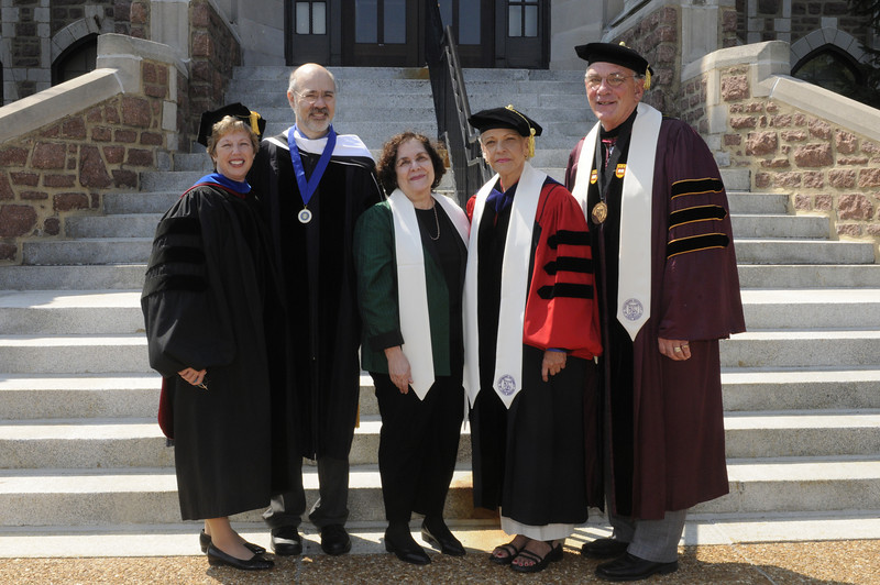 Pictured, from left, Dr. Nancy Blattner, Fontbonne vice president and dean for academic affairs, Dr. Jason Sommer, Batya Abramson-Goldstein, Dr. Ada Maria Isasi-Diaz, academic convocation speaker, and Dr. Dennis Golden, Fontbonne president