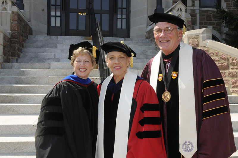 Pictured, from left, Dr. Nancy Blattner, Fontbonne vice president and dean for academic affairs, Dr. Ada Maria Isasi-Diaz, academic convocation speaker, and Dr. Dennis Golden, Fontbonne president