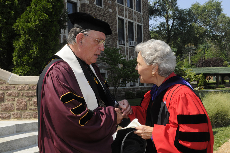Dr. Dennis Golden, Fontbonne president, and Dr. Ada Maria Isasi-Diaz, academic convocation speaker.