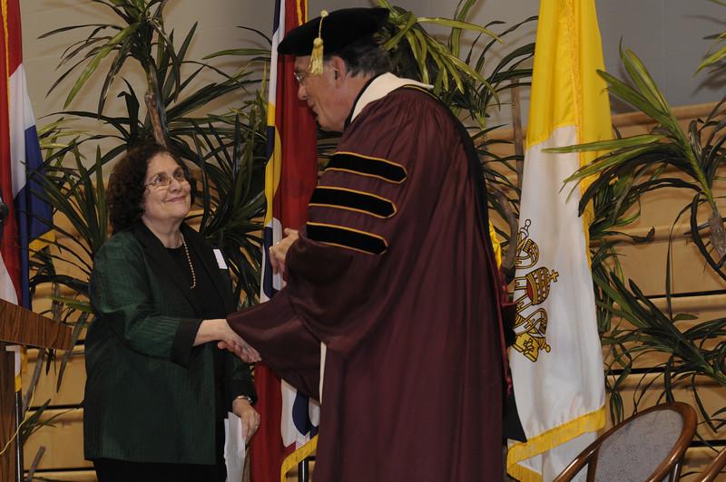 Batya Abramson-Goldstein and Dr. Dennis Golden, Fontbonne president.