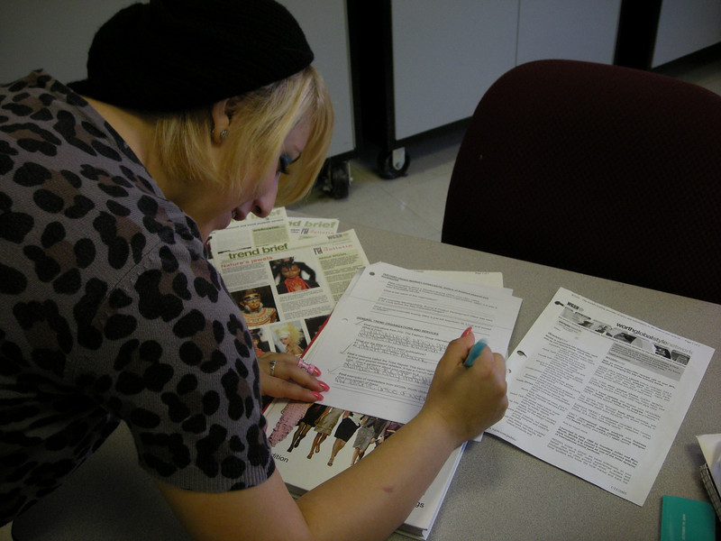 Student conducting researching in Fashion Lab