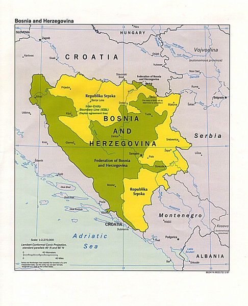 The division of Bosnia-Herzegovina into the Muslim-Croat Federation and Republika Srpska. Courtesy of the University of Texas Libraries.