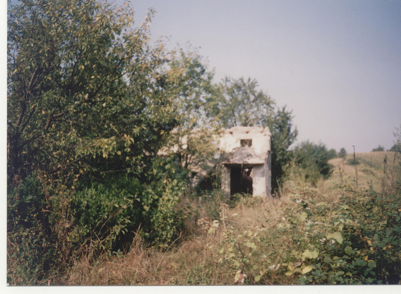 Erzena Musič's home.  Ruins of Erzena Musić's home in Čarakovo.  Family photograph.