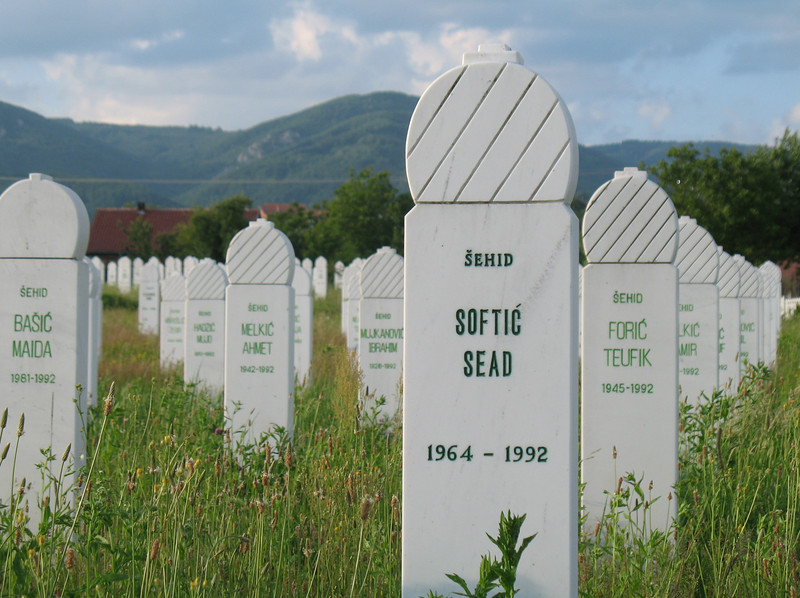 Martyr's cemetery in Kozarac.  At least 3000 citizens of Kozarac were killed, most during the initial Serb attack.  Photograph by Benjamin Moore.