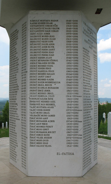Memorial honoring hundreds from Hambarine who were killed, most in 1992.  Photograph by Benjamin Moore.