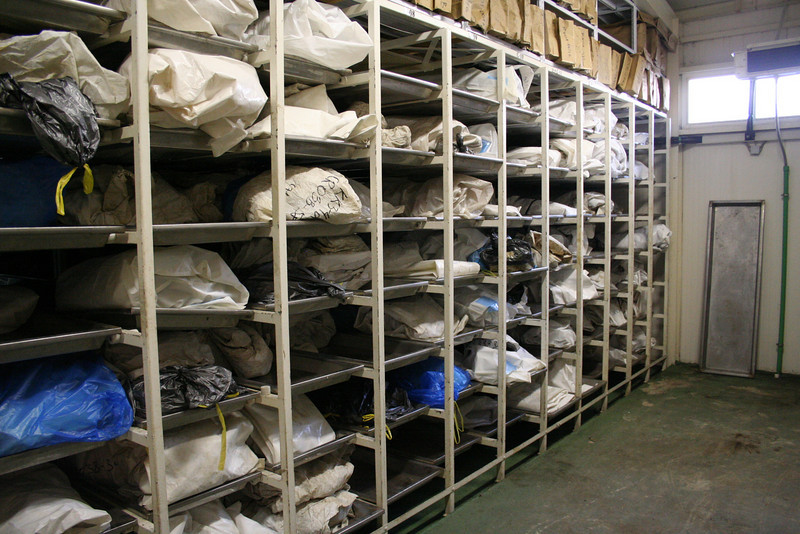 Unidentified bodies in storage at the ICMP facility in Sanski Most.