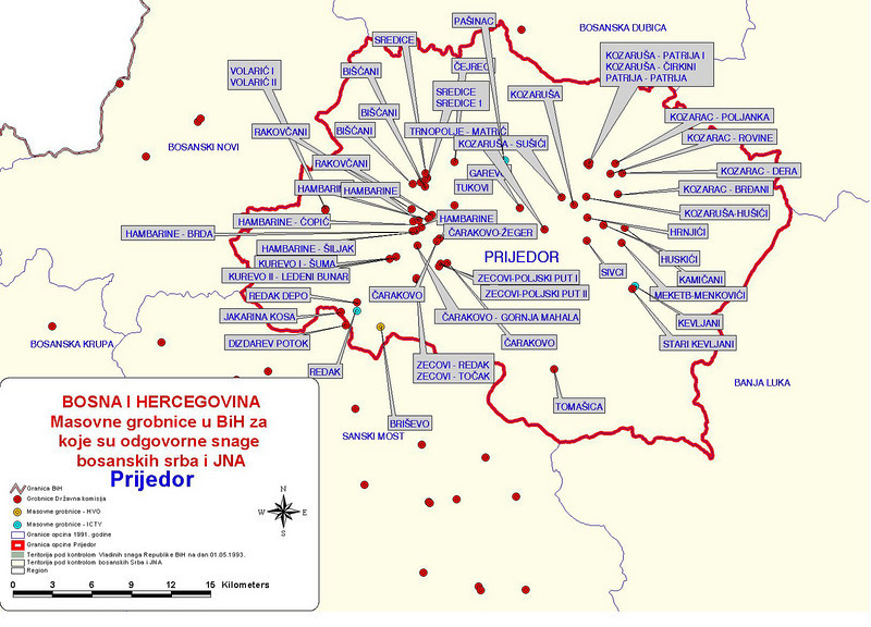 Map showing distribution of mass graves in the municipality of Prijedor.