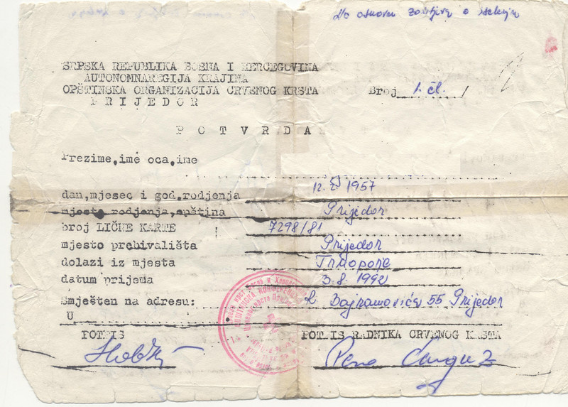 An official paper granting passage out of Trnopolje to a specific address in Prijedor.  The name has been removed at the owner's request due to concern for family members still in Bosnia.