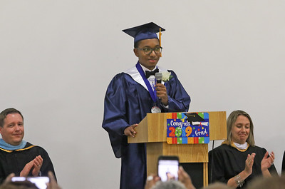 Salutatorian, Nathaniel Humphrey giving his speech. He is the first Chrater Academy student to get an associates degree from brookdale college while attending high school. His associates is in computer science. The 2019 commencement ceremony at Academy Charter High School in Lake Como, NJ on 6/20/19. [DANIELLA HEMINGHAUS | THE COAST STAR]