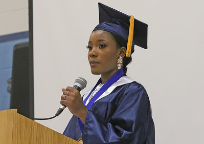 Valedictorian, Fabienne Cetoute giving her emotional speech. The 2019 commencement ceremony at Academy Charter High School in Lake Como, NJ on 6/20/19. [DANIELLA HEMINGHAUS | THE COAST STAR]