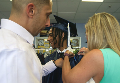 [l-r]: James Maida, Jamere Cancel, and Meghan Wood The 2019 commencement ceremony at Academy Charter High School in Lake Como, NJ on 6/20/19. [DANIELLA HEMINGHAUS | THE COAST STAR]