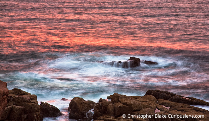 Thunder Hole Pink Water  - Acadia NP