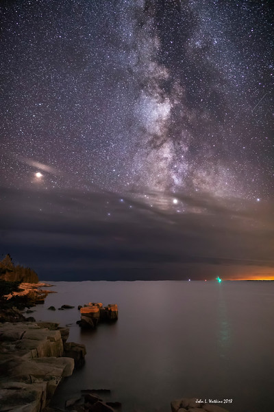 Mars Peeks Through the Clouds on the Schoodic Coast