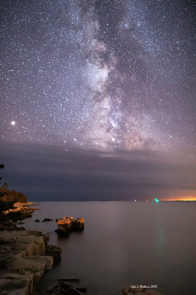 Milky Way and Mars on the Coast on the Schoodic Side