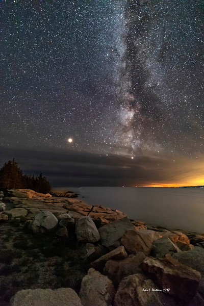 Mars and the Milky Way at the Schoodic Coast