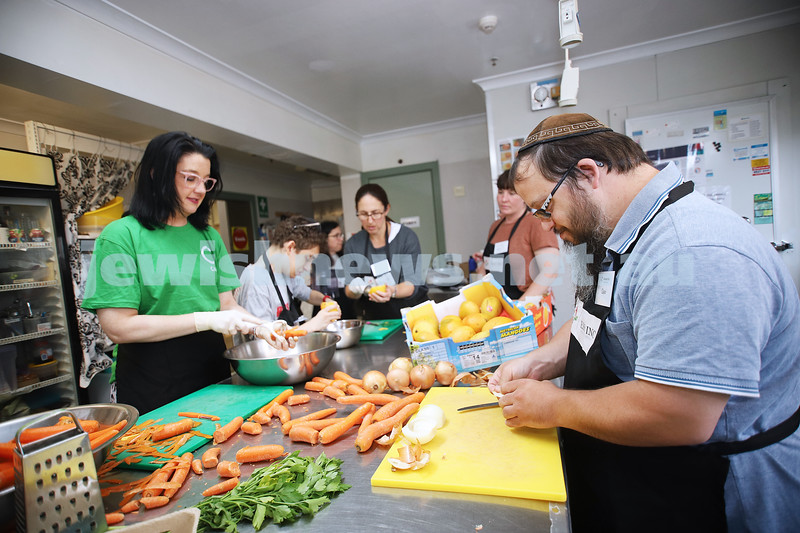 18-2-20. Access Inc have teamed up with C Care to prepare and cook meals for those in need. Members of Access and C Care at Kooks Kitchen , Beth Weizmann Community Centre. Photo: Peter Haskin