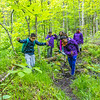 Scene from Access Wild Places at North Country School, June 2021. Participants hike to Balance Rock.  photo by Nancie Battaglia